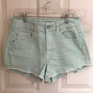 American Eagle Teal Washed Shorts